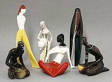 Six porcelain Ćmielów figures,  tallest 14.5cm (6)