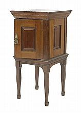 A walnut pot cupboard,   attributed to Morris & Co, enclosing a marble
