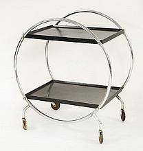 An Art Deco tubular chrome two-tier tea trolley,  68cm wide  45cm d
