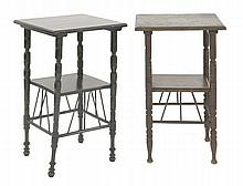 Two side tables,  after a design by E W Godwin, one walnut, one ebonise