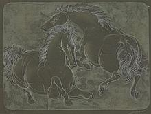 Hans Erni (Swiss, 1909-2015)  HORSES  Lithograph on black paper, si