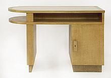 An Art Deco satinwood desk,  with a cream leather inset top, an open sh