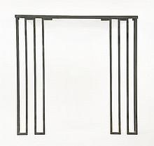 A wrought iron console table,  in the style of Jean Royère, now with an