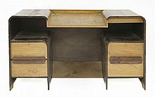 An Art Deco rosewood and ash desk,  with raised cupboards and drawers f