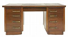 An Art Deco mahogany pedestal desk,  with a leather top, the central dr