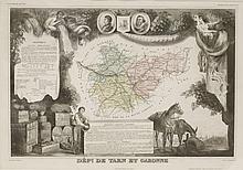 Robert Morden,A map of Wiltshire,With coloured highlights,34 x 40cm, andA map 'Dept de Tarn et G