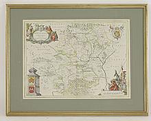 J Blaeu,Hertfordia Comitatus,17th century hand coloured map,51 x 39cm