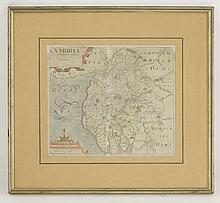 Robert Morden,Cumberland,18th century hand coloured map,36 x 42cm, andWilliam Kip,Cumbria,17th