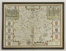 John Speed,Surrey Described and Divided into Hundres,17th century hand coloured map,38 x 51cm
