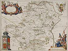 J Blaeu,A map of Hertfordshire,c.1662, 'Hertfordia Comitatus Vernacule Hertfordshire', pages print