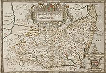Christopher Saxton,A map of Suffolk,16th century, 'Suffolciae Comitatus Continens in Oppida Mercat
