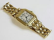 A gentlemen's 18ct gold Cartier Panther quartz bra