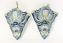 A rare pair of delft blue and white Wall Pockets,