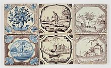 Six English delftwareTiles, mid 18th century, four