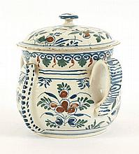 A Bristol delftware Posset Pot and Cover, early