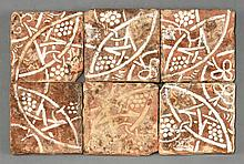 Six encaustic Tiles, 14th-15th century, each with