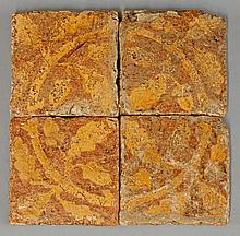 Four similar encaustic Tiles, 14th-15th century,