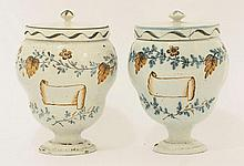 A pair of French faience Dry Drug Jars, mid 18th