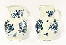 A pair of Worcester cabbage leaf Jugs, c.1780,