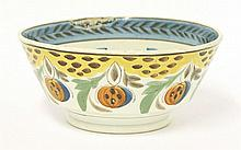 A pearlware polychrome Bowl, early 19th century,
