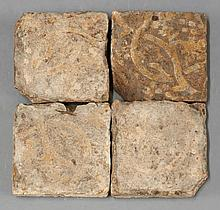 Another four encaustic Tiles, 14th-15th century,