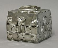 A Tudric Pewter biscuit box and cover,   desig