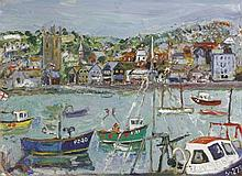 *Linda Weir (b.1951)  ST. IVES HARBOUR  In