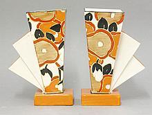 A pair of rare Clarice Cliff 'Orange Chintz' vases