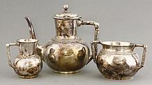 An Elkington & Co. three-piece coffee set,  de