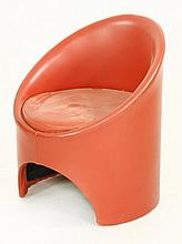 An Evans Furniture red leatherette-mounted tub cha