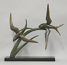 An Art Deco patinated spelter centrepiece,  mo