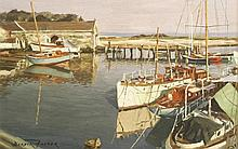 *Deryck Foster (1924-2012)  A HARBOUR AT SUNSE