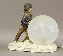A terracotta table lamp,  modelled as a boy ro