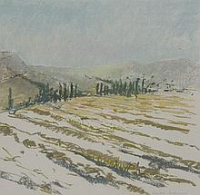 *Charlotte Ardizzone (b.1943)  'LANDSCAPE WITH CYPRESS, FRANCE'  Signed l.r., pastel  42