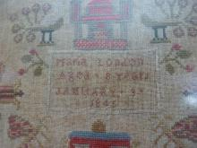 A Victorian sampler, by Maria London, aged 8 years, dated January 3rd 1845, close weave linen ...