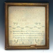 An 18th century sampler, by Charlotte Buscall, dated 1778, worked in coloured silks on fine wool ...