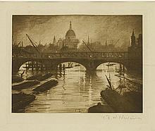 *Christopher Richard Wynne Nevinson (1889-1946)THE THAMES AT WATERLOO BRIDGEPhotogravure