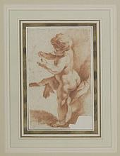 Attributed to François Boucher (French, 1703-1770) STUDY OF A PUTTO Red chalk 21 x 12.5cm  ...