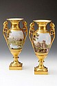 A pair of German porcelain twin-handled Vases,