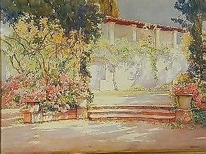 Isidor Rosenstock 1880-1956  A VIEW OF A VILLA WITH FLOWERS AND VINES  signed Rosenstock, watercolour, 56 x 75cm