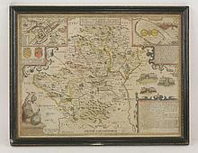 John Speede,   'Hartfordshire (sic) Described',  a hand coloured engraved map,   38 x 51cm