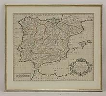 Town plan of the city of Ghent and Flanders in the year 1706 and 1708,  hand coloured in outline,  38 x 48cm,  plus an 18th century map of Spain and Portugal,  1719, hand coloured in outline,  49 x 56cm;  both framed and glazed    (2)