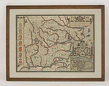 John Speed,  'Essex, Devided [sic] into Hundreds',  a hand coloured engraved map, mounted and double glazed,  38.5 x 51cm