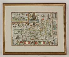 John Speede,  Cornwall,  hand coloured engraved map,  38 x 51cm