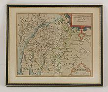 Four hand coloured maps, comprising:  'Dorcestria',  Petrus Kaerius,  8.5 x 12cm,  'A Mapp of Hantshire with its Hundreds',  17 x 24cm,  'Westmorlandiae', Saxton and Kipp',  26.5 x 32cm, and  'Cornwall',  13 x 16cm    (4)