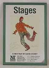 STAGES:  Poster in colour,  for the production of the play by David Story; signed by Alan Bates (actor) and Lindsay Anderson (Director).  Framed and glazed, (75 x 49.5cm).  CONDITION: VG+