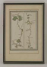 John Ogilby, The Continuation of the Road from London to Barwick, beginning at Stilton and extending to Tuxford, handcoloured, A road map of London to Worthing, published by E Mogg 1814, and another handcoloured map of Rutlandshire, 33 x 45cm (3)