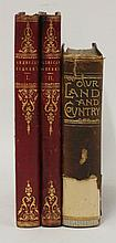 AMERICA: 1. Bartlett, W H(ill)\: American Scenery. Two volumes. L, Virtue, nd (1840). With steel plates. 4to. Half leather gilt, marbled endpapers and teg. CONDITION: Little worn and occasional foxing; o/w VG; 2. Mills, A W, etc: Our Land and