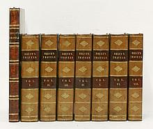 BRUCE, James: Travels to discover the source of the Nile, in the years 1768, 1769, 1770, 1771, 1772, and 1773. Eight volumes (seven volumes of text, 8vo. and one volume of plates, 4to.) Edinburgh, 1805. Plate 53 duplicated in place of plate 55.