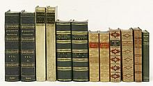 BINDING:  Twelve volumes including:  Froissart, Sir John: Chronicles of England, France, Spain, Two volumes. 1839; Goldsmith: Miscellaneous works.  Four volumes, bound in two.  1806.  Etc.   (12)